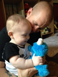 Declan, dad and Cookie Monster. This site is all about our family.