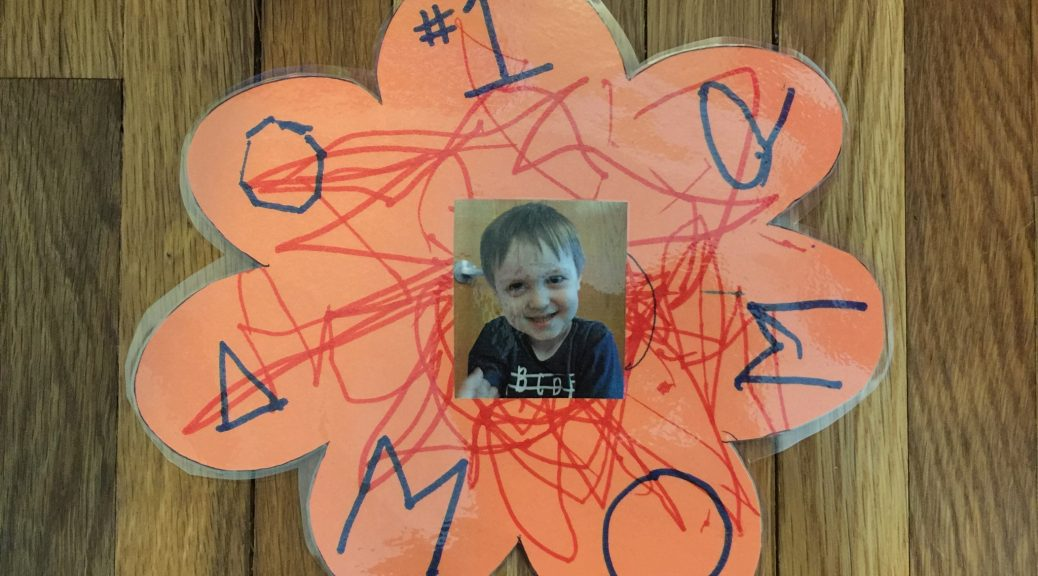 Declan's Mother's Day craft project 2018.